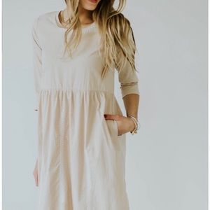 Roolee Beige Taupe Cotton Embroidered Midi Dress S